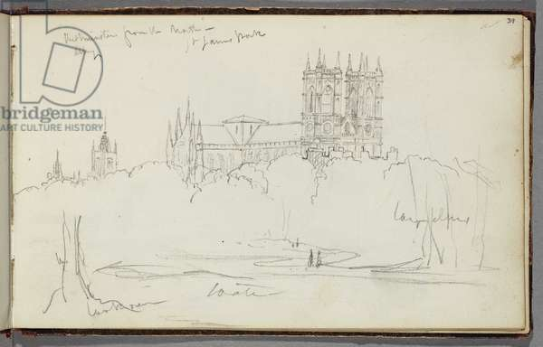 Westminster Abbey from the North, St. James Park, c.1830 (pencil on paper)