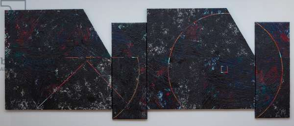 The Arc Maker I & II (acrylic on canvas with collage)