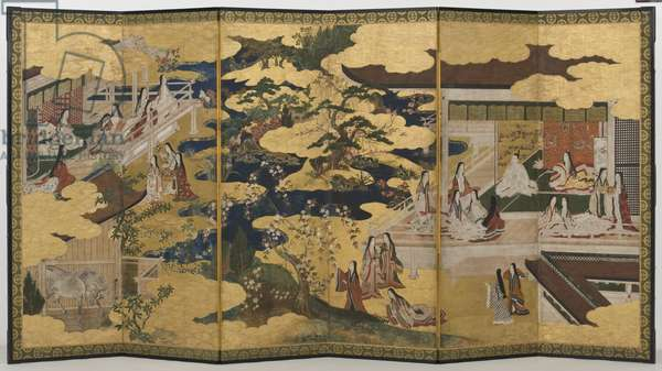 Spring in the Palace, six-fold screen from 'The Tale of Genji', c.1650 (ink, colours & gold on paper)