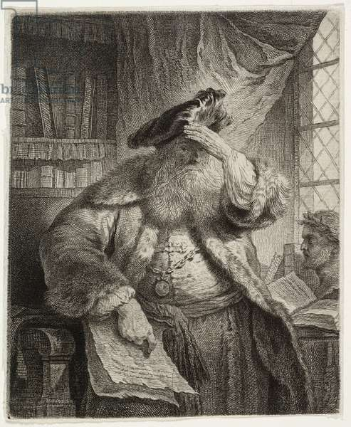Old man shading his eyes with his hand (etching)