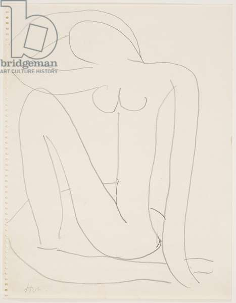 Woman Seated with Arm on Head (pencil on paper)