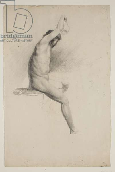 Nude Seated Male Figure, c.1832 (pencil on paper)