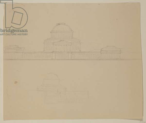 Elevation of the Ohio State House, c.1838 (graphite pencil on beige wove paper)