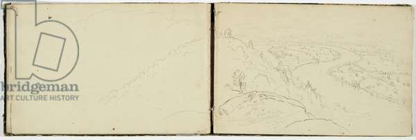 Panorama of the Oxbow on the Connecticut River as seen from Mount Holyoke, c.1833 (graphite pencil on wove paper)