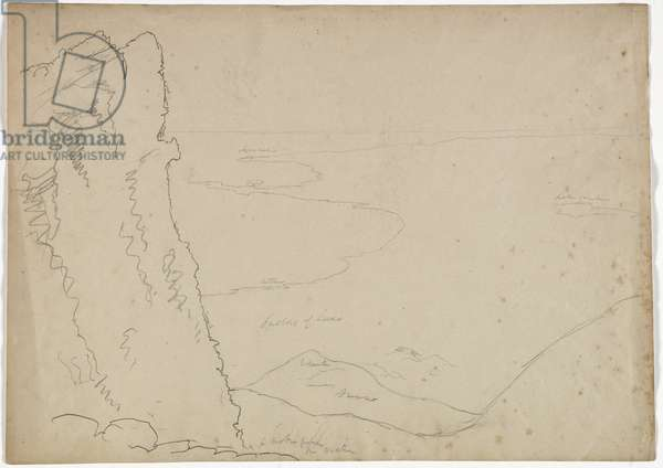 View South from Mount Etna, Sicily, 1842 (pencil on paper)