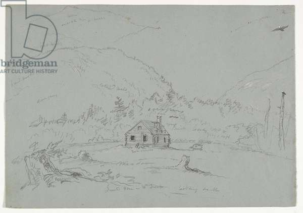 House in Mount Desert, c.1844 (graphite heightened with white crayon on paper)