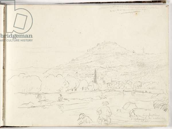 Sketch of hilltop, riverbank and figures, 1831 (pencil on paper)