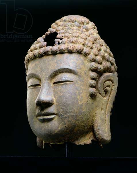 Head of Buddha, Korean, late 8th, early 9th century AD (cast iron)