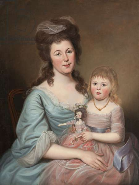 Peggy Sanderson Hughes and her Daughter, c.1788-89 (oil on canvas)
