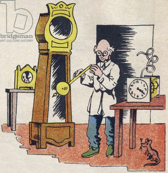 """Watchmaker. Engraving in """""""" ABC des metiers"""""""""""". Agence Gutenberg editions, Lyon, 1945. Author and illustrator unknown. 24 pages. Dimensions: 27x19cm. Private Collection"""