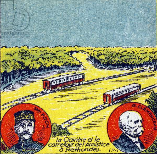 "First World War (1914-1918): Marechal Ferdinand Foch (1851-1929) and Georges Clemenceau (1841-1929). Signature of the Armistice in a wagon of the General Staff Train called the ""Armistice wagon"" in the Rethondes glade, in the forest of Compiegne on November 11, 1918. Engraving in ""Histoire de France"""". Advertising Image Series"