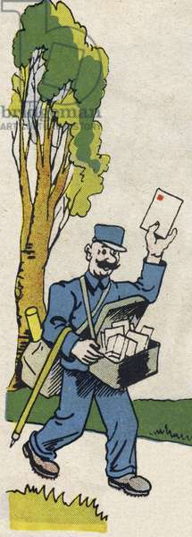 """The mailman. Engraving in """""""" ABC des metiers"""""""""""". Agence Gutenberg editions, Lyon, 1945. Author and illustrator unknown. 24 pages. Dimensions: 27x19cm. Private Collection"""