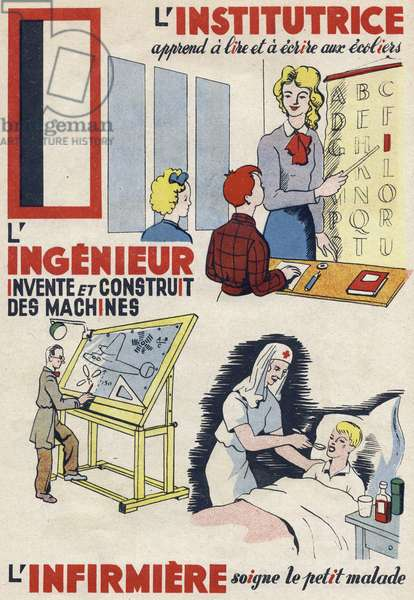 """Letter I: the teacher learns to read and write to school students, the engineer invents and builds machines and the nurse heals the sick child. Engraving in """""""" ABC des metiers"""""""""""". Agence Gutenberg editions, Lyon, 1945. Author and illustrator unknown. 24 pages. Dimensions: 27x19cm. Private Collection"""