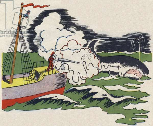 """Harpooner fishing whale (whaling). Engraving in """""""" ABC des metiers"""""""""""". Agence Gutenberg editions, Lyon, 1945. Author and illustrator unknown. 24 pages. Dimensions: 27x19cm. Private Collection"""