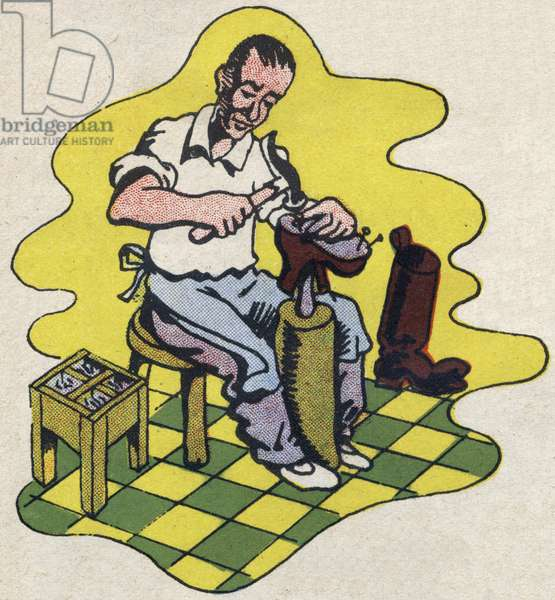 """The shoemaker. Engraving in """""""" ABC des metiers"""""""""""". Agence Gutenberg editions, Lyon, 1945. Author and illustrator unknown. 24 pages. Dimensions: 27x19cm. Private Collection"""