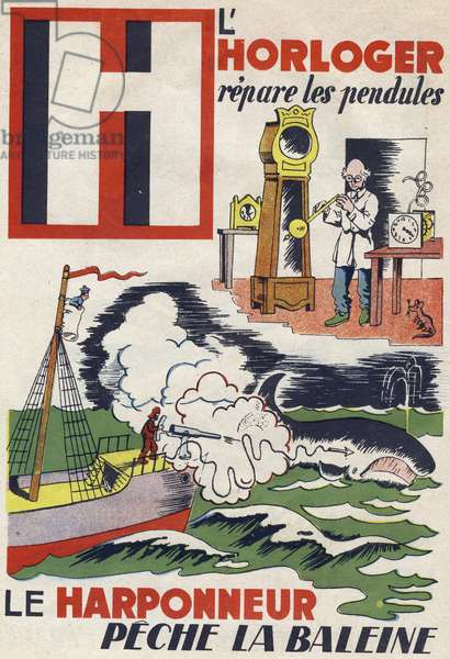 """Letter H: the watchmaker repaired the clocks and the harpooner fished the whale. Engraving in """""""" ABC des metiers"""""""""""". Agence Gutenberg editions, Lyon, 1945. Author and illustrator unknown. 24 pages. Dimensions: 27x19cm. Private Collection"""