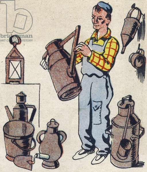 """The hardware maker with a watering can. Engraving in """""""" ABC des metiers"""""""""""". Agence Gutenberg editions, Lyon, 1945. Author and illustrator unknown. 24 pages. Dimensions: 27x19cm. Private Collection"""