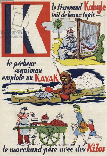 """Letter K: the Kabyle weaver makes beautiful rugs, the Eskimo fisherman uses a kayak and the merchant wears pounds. Engraving in """""""" ABC des metiers"""""""""""". Agence Gutenberg editions, Lyon, 1945. Author and illustrator unknown. 24 pages. Dimensions: 27x19cm. Private Collection"""