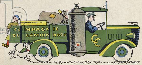 """The truck driver. Engraving in """""""" ABC des metiers"""""""""""". Agence Gutenberg editions, Lyon, 1945. Author and illustrator unknown. 24 pages. Dimensions: 27x19cm. Private Collection"""