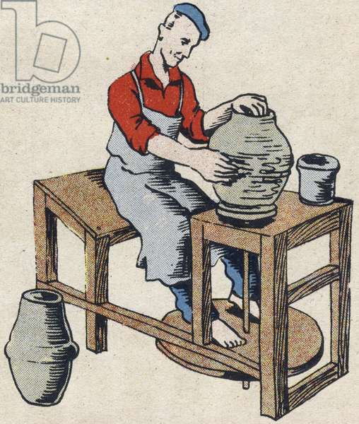 """The potter. Engraving in """""""" ABC des metiers"""""""""""". Agence Gutenberg editions, Lyon, 1945. Author and illustrator unknown. 24 pages. Dimensions: 27x19cm. Private Collection"""
