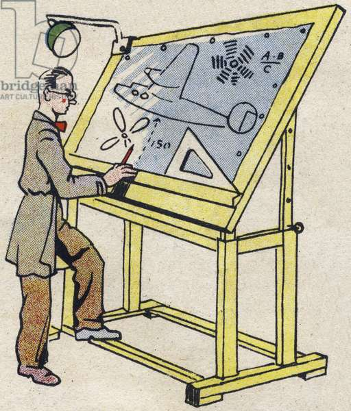 """Engineer. Engraving in """""""" ABC des metiers"""""""""""". Agence Gutenberg editions, Lyon, 1945. Author and illustrator unknown. 24 pages. Dimensions: 27x19cm. Private Collection"""