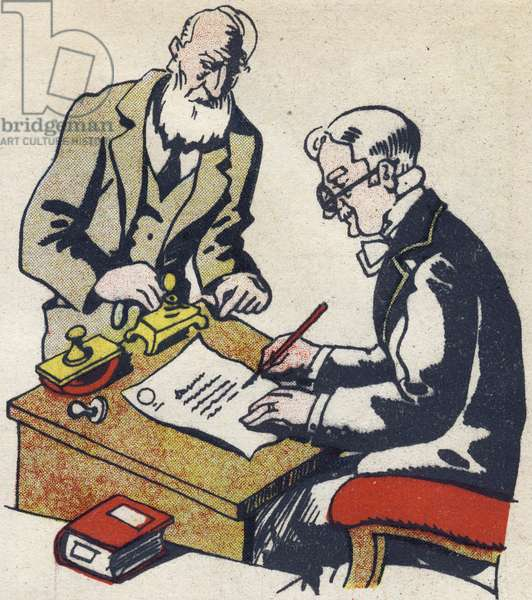 """The notary redigs a will. Engraving in """""""" ABC des metiers"""""""""""". Agence Gutenberg editions, Lyon, 1945. Author and illustrator unknown. 24 pages. Dimensions: 27x19cm. Private Collection"""