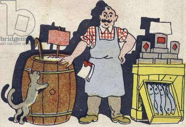 """The grocer. Engraving in """""""" ABC des metiers"""""""""""". Agence Gutenberg editions, Lyon, 1945. Author and illustrator unknown. 24 pages. Dimensions: 27x19cm. Private Collection"""