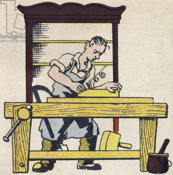 """The carpenter. Engraving in """""""" ABC des metiers"""""""""""". Agence Gutenberg editions, Lyon, 1945. Author and illustrator unknown. 24 pages. Dimensions: 27x19cm. Private Collection"""