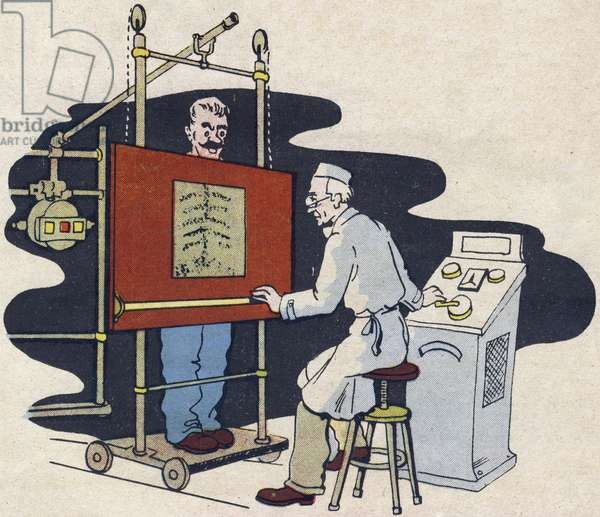 """The radiologist looks through the body with x-rays (x-rays). Engraving in """""""" ABC des metiers"""""""""""". Agence Gutenberg editions, Lyon, 1945. Author and illustrator unknown. 24 pages. Dimensions: 27x19cm. Private Collection"""