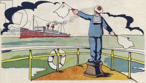 """The Master Quarter makes signals to the liner. Engraving in """""""" ABC des metiers"""""""""""". Agence Gutenberg editions, Lyon, 1945. Author and illustrator unknown. 24 pages. Dimensions: 27x19cm. Private Collection"""