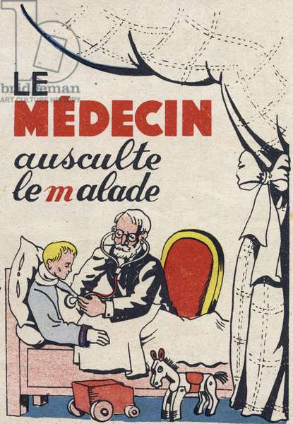 """The doctor examines the patient. Engraving in """""""" ABC des metiers"""""""""""". Agence Gutenberg editions, Lyon, 1945. Author and illustrator unknown. 24 pages. Dimensions: 27x19cm. Private Collection"""