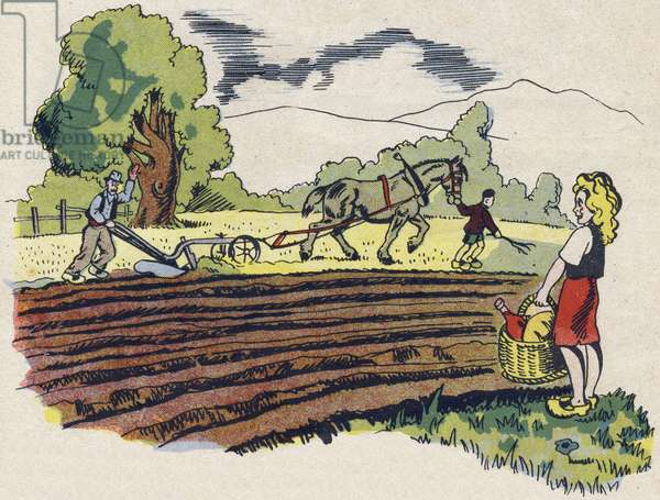 """The plougher. Engraving in """""""" ABC des metiers"""""""""""". Agence Gutenberg editions, Lyon, 1945. Author and illustrator unknown. 24 pages. Dimensions: 27x19cm. Private Collection"""