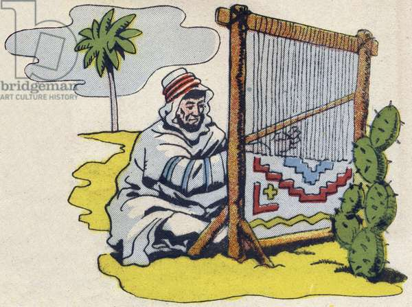 """Kabyle weaver. Engraving in """""""" ABC des metiers"""""""""""". Agence Gutenberg editions, Lyon, 1945. Author and illustrator unknown. 24 pages. Dimensions: 27x19cm. Private Collection"""