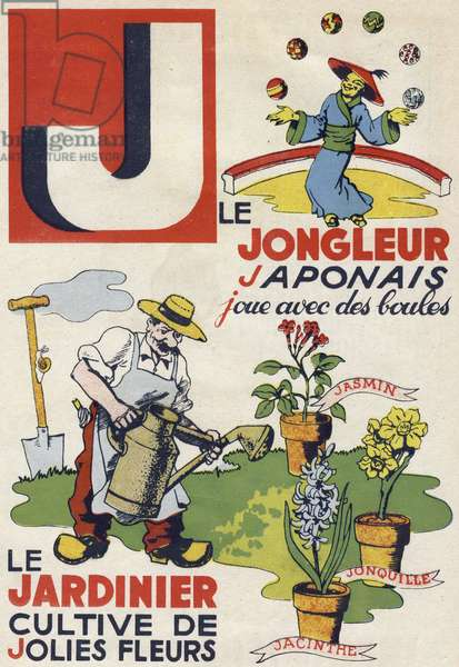 """Letter J: The Japanese juggler plays with balls and the gardener grows pretty flowers. Engraving in """""""" ABC des metiers"""""""""""". Agence Gutenberg editions, Lyon, 1945. Author and illustrator unknown. 24 pages. Dimensions: 27x19cm. Private Collection"""