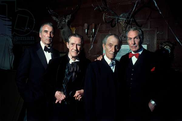 Christopher Lee, John Carradine, Peter Cushing and Vincent Price on set of 'House of the Long Shadows' (photo)