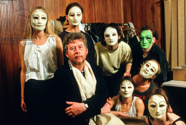 Harrison Birtwistle with members of the cast in rehearsal for 'The Mask Of Orpheus', 1986 (photo)