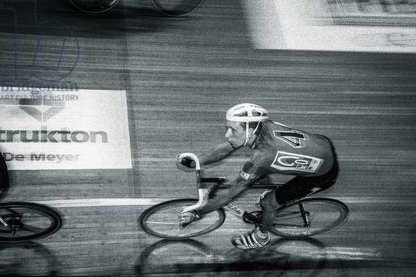 Bradley Wiggins, Ghent Six Day Cycle Race, 2000 (b/w photo)