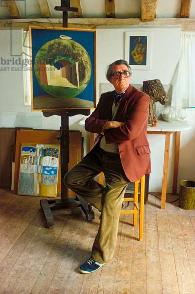 Sir Roland Penrose in his studio at Farley Farm, East Sussex (photo)