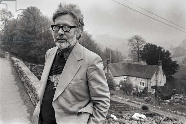 Laurie Lee at his childhood home in Slad, Gloucestershire, 1973 (b/w photo)