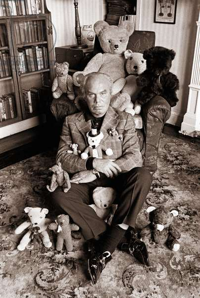 Peter Bull with his Teddy Bear Collection, 1973 (b/w photo)