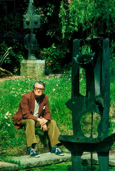 Sir Roland Penrose in his garden at Farley Farm, East Sussex (photo)