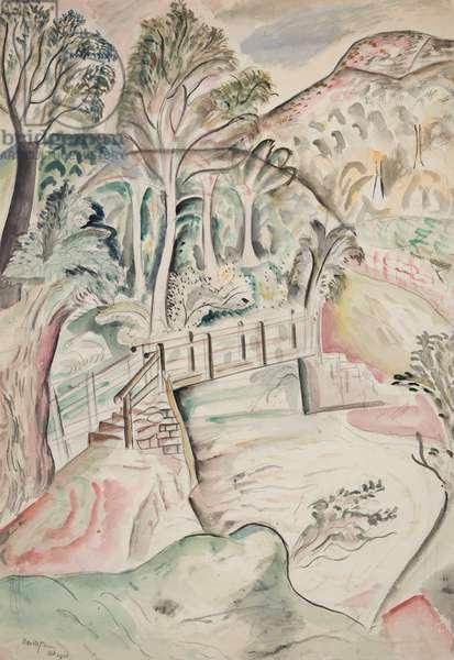 Bridge over Honddu, 1926 (w/c on paper)