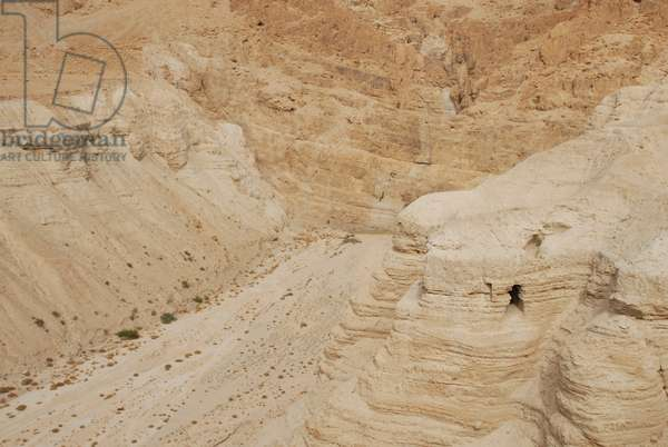 Cliff and Cave, Qumran, West Bank, Palestine (photo)
