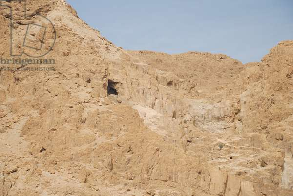 Cliff with Cave, Qumran, West Bank, Palestine (photo)