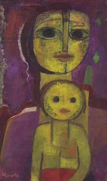 Untitled (Mother with Child), c.1950-55 (oil on canvas)