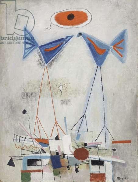 Stilt Birds, c.1950 (oil on hardboard)
