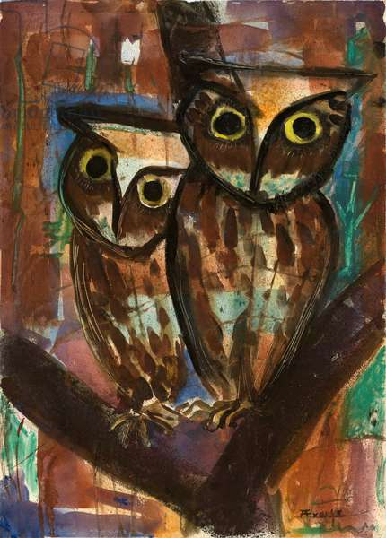 Two Owls (gouache on paper)