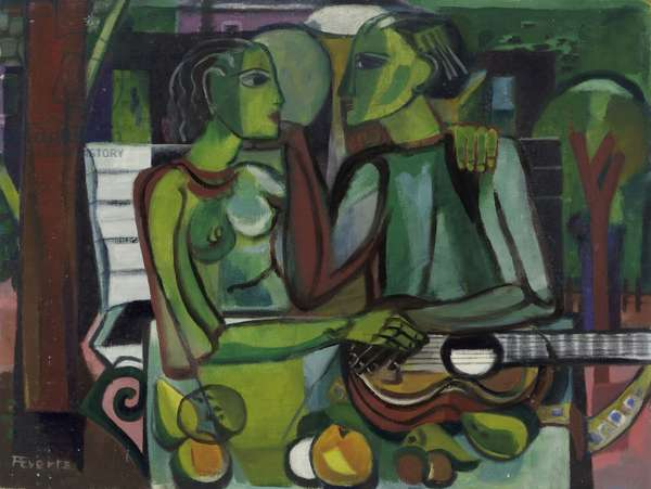 Lovers in a Garden, c.1945-50 (oil on hardboard)