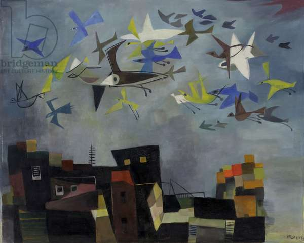 The Birds are Coming II, c.1955 (oil on hardboard)