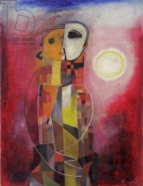 Lovers, c.1945-50 (oil on hardboard)